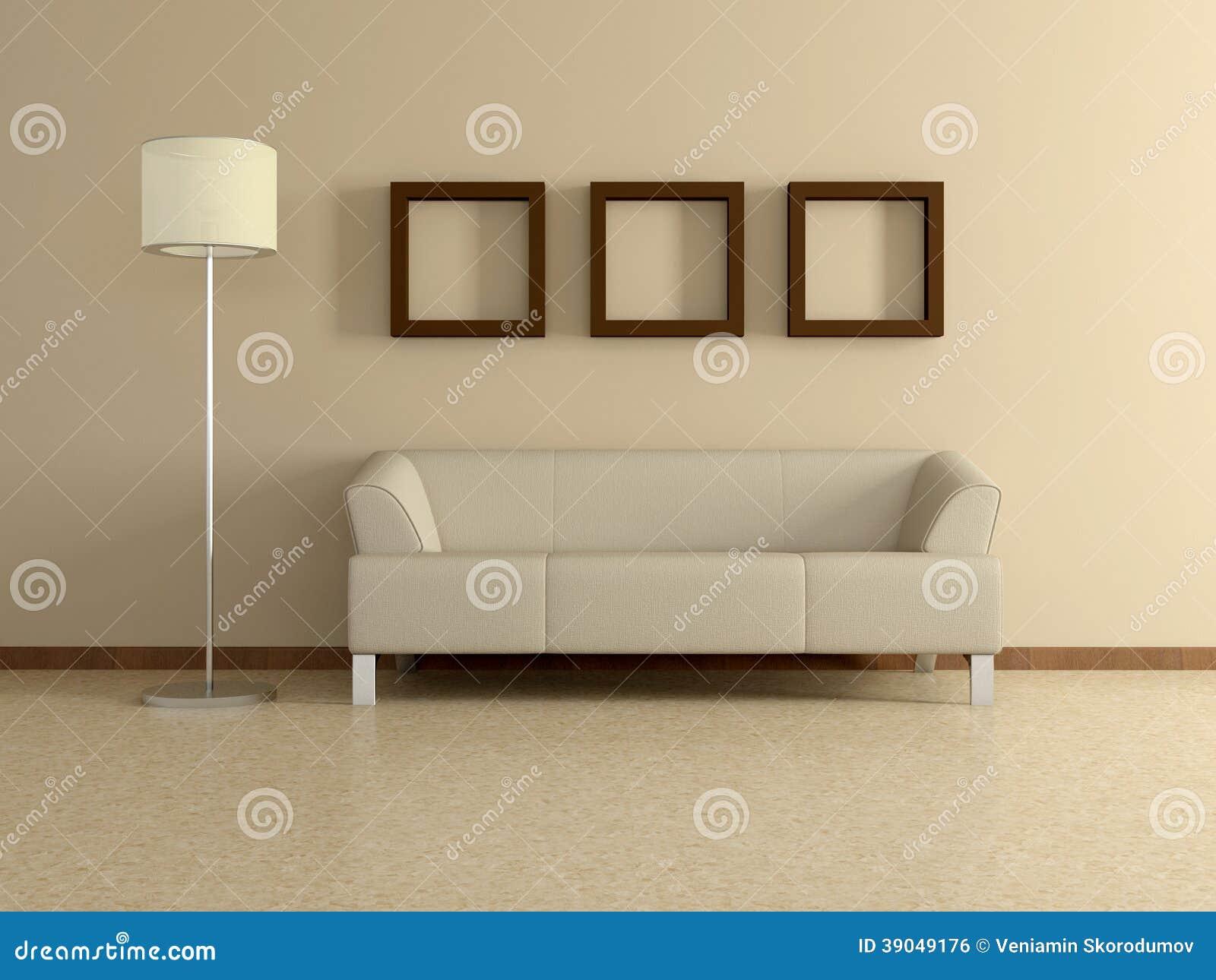 Modern home interior with sofa paintings 3d stock - Salon brun et beige ...