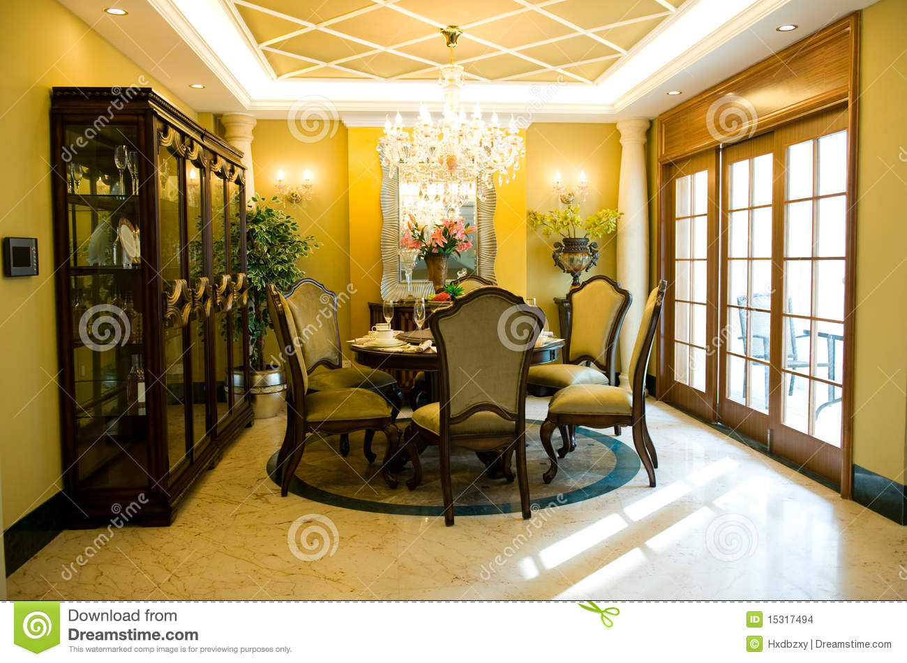 Model luxury home interior living room windows stock photo for Model living room pictures