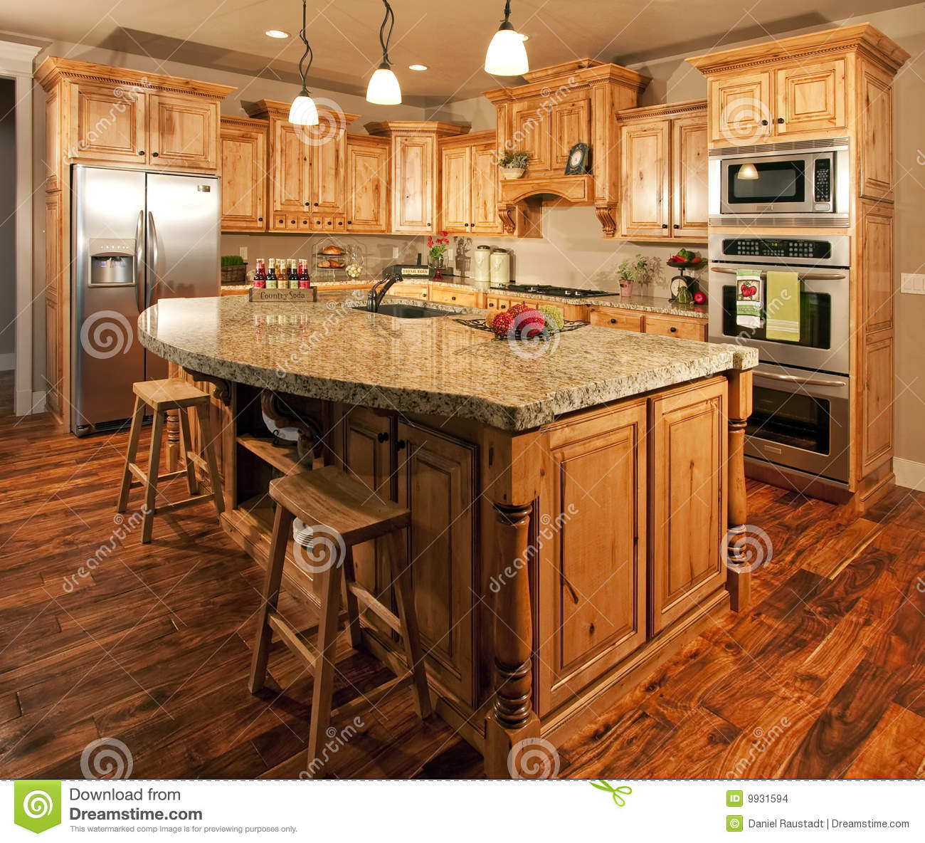 Modern Home Kitchen Center Island Stock Photo - Image of ...