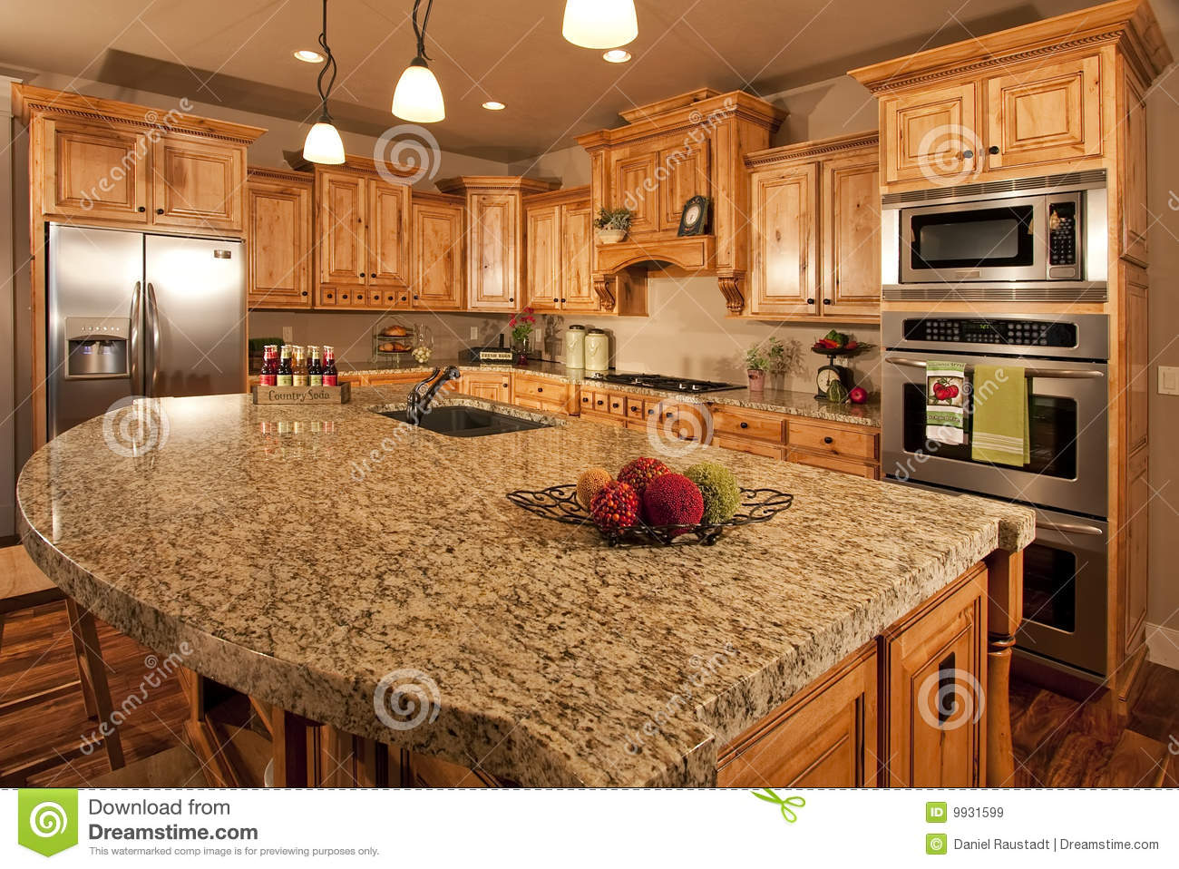 Modern Home Kitchen With Center Island Stock Image - Image ...