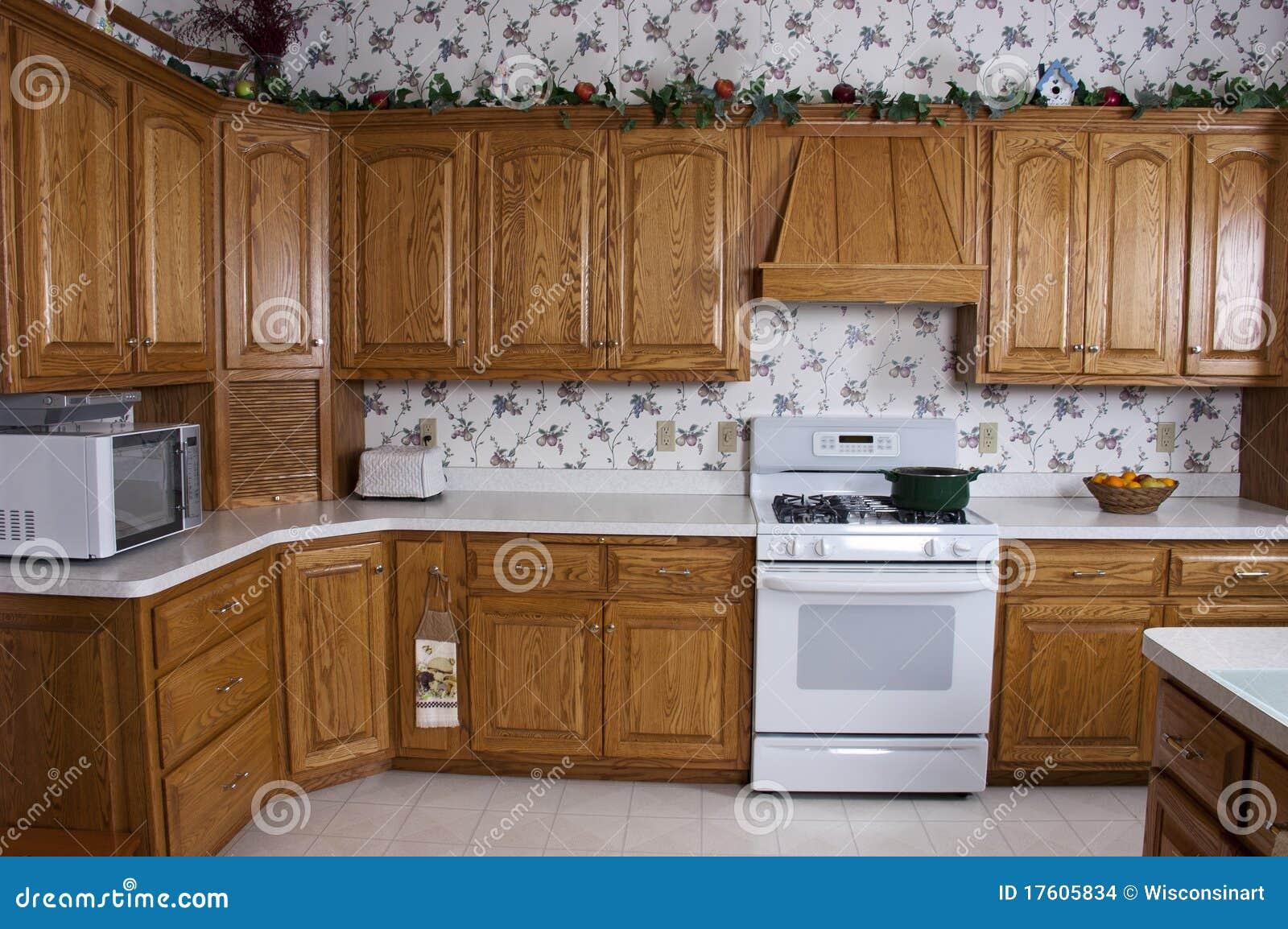 Modern home kitchen stove oak cabinets interior stock for Modern house kitchen cabinets