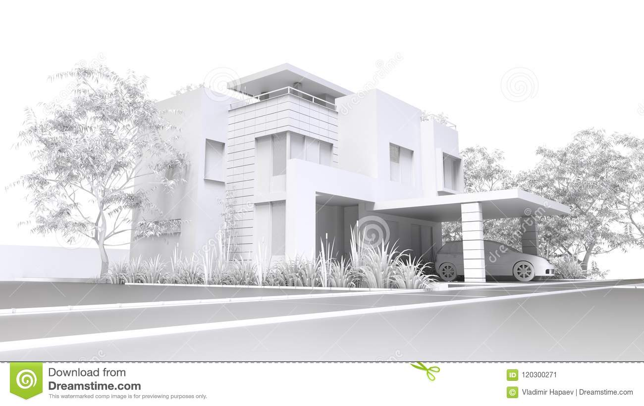 Modern Home  Monochrome 3D Illustration Of White Plastic