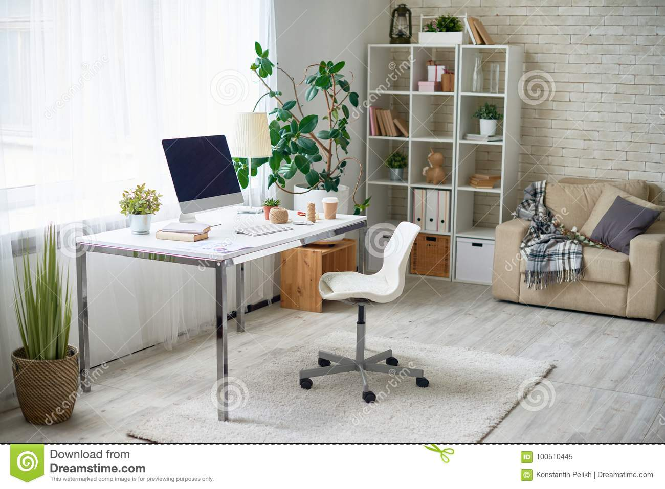 Modern Home Office Stock Image Image Of Home Flat 100510445