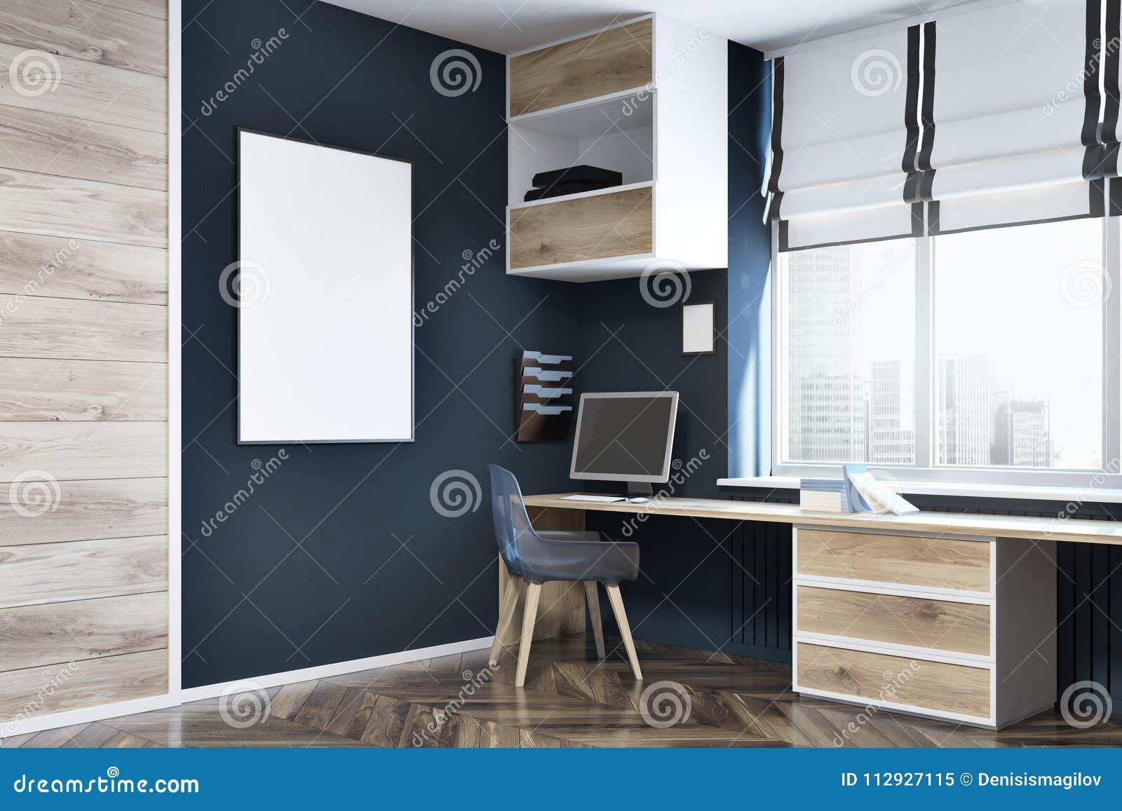 office corner. Download Dark Blue Wall Home Office Corner, Poster Stock Illustration -  Of Hipster, Office Corner