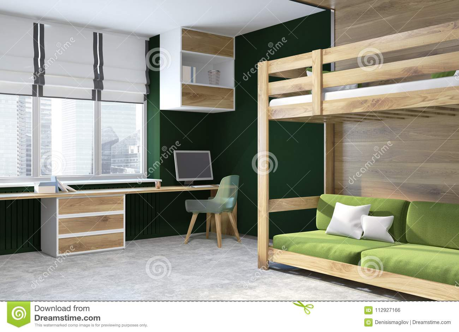 Black Wall Home Office Green Loft Bed Stock Illustration