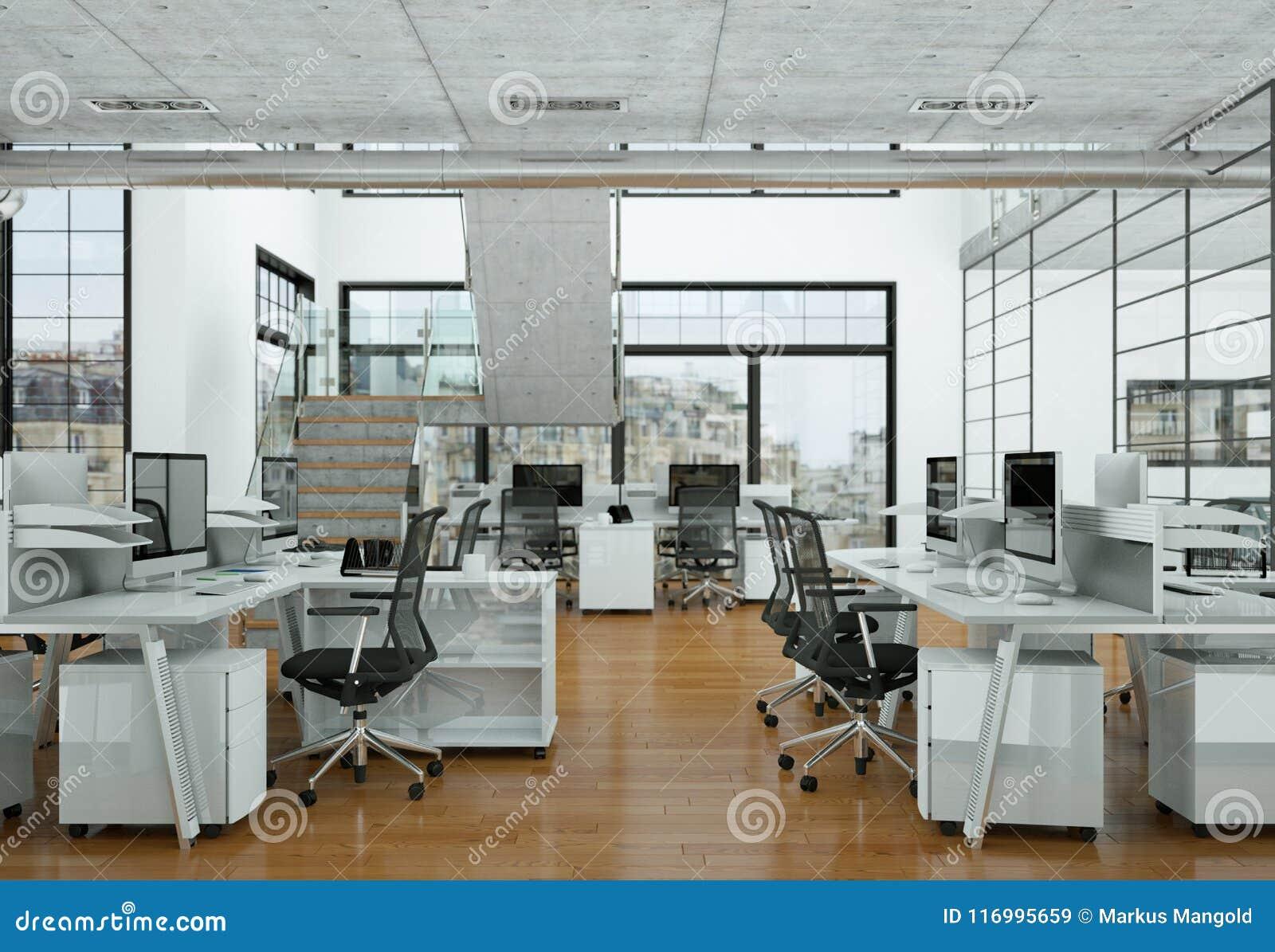 Modern Home Office Interior Design 3d Rendering Stock Image