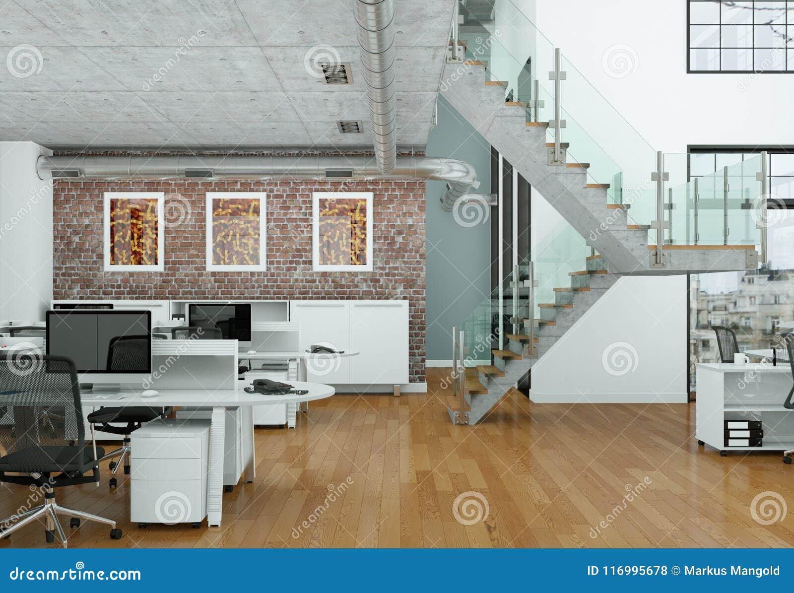 Modern Home Office Interior Design 3d Rendering