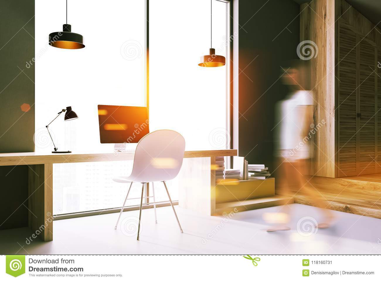 Download Modern Home Office Interior, Woman Stock Illustration    Illustration Of Laptop, Chair: