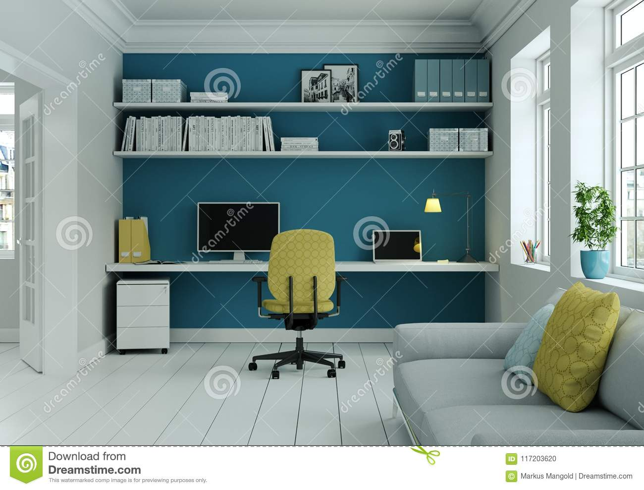 Modern Home Office With Yellow Chair And Blue Wall Interior Design