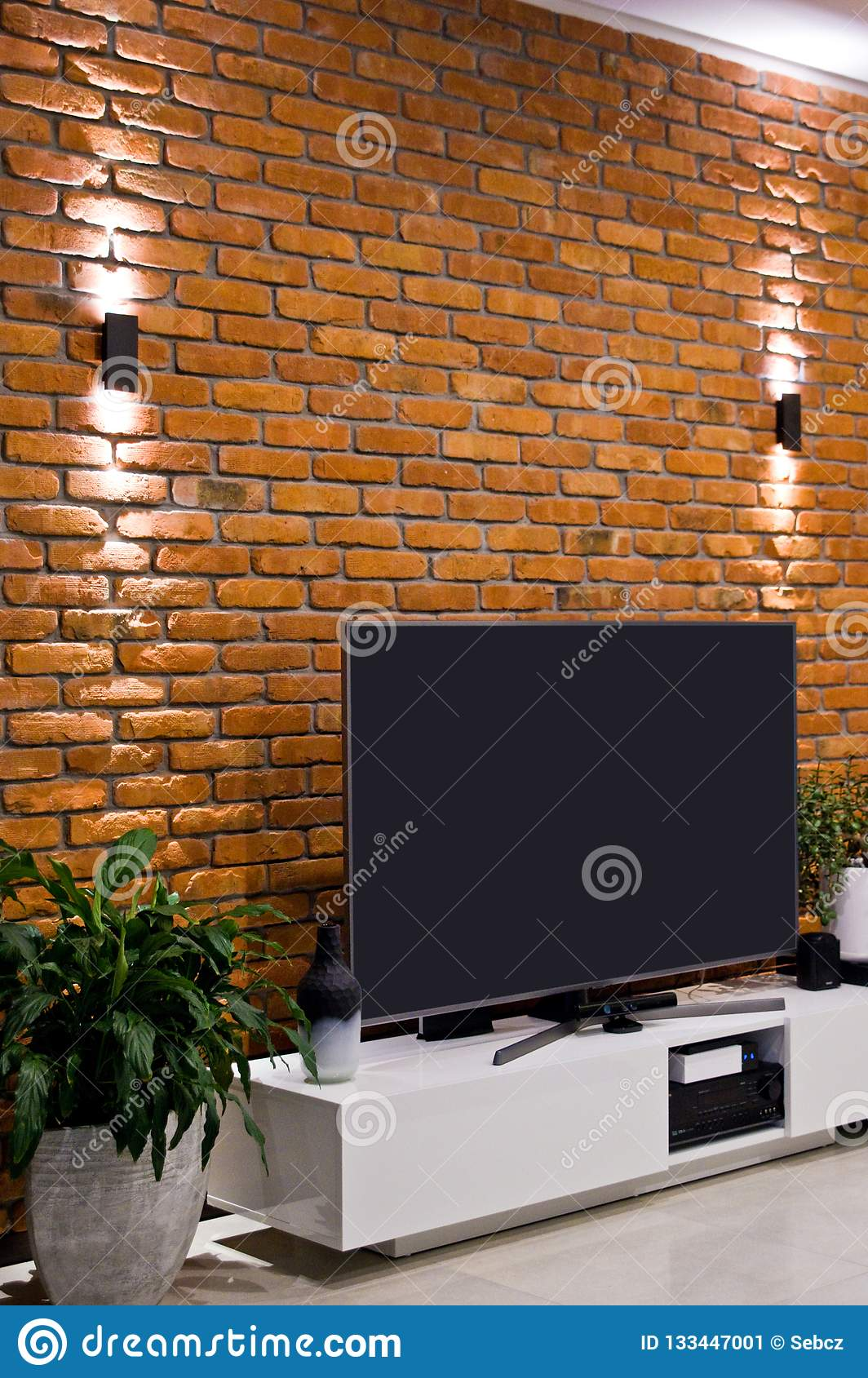 Modern Home Room Design With Red Brick Wall And Flat Led Television Stock Image Image Of Concept Architecture 133447001