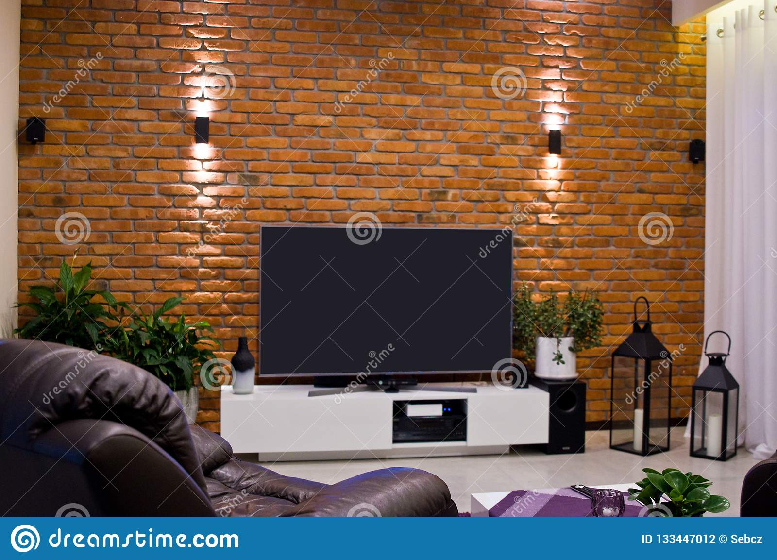 Modern Home Room Design With Red Brick Wall And Flat Led Television Stock Photo Image Of Light Living 133447012