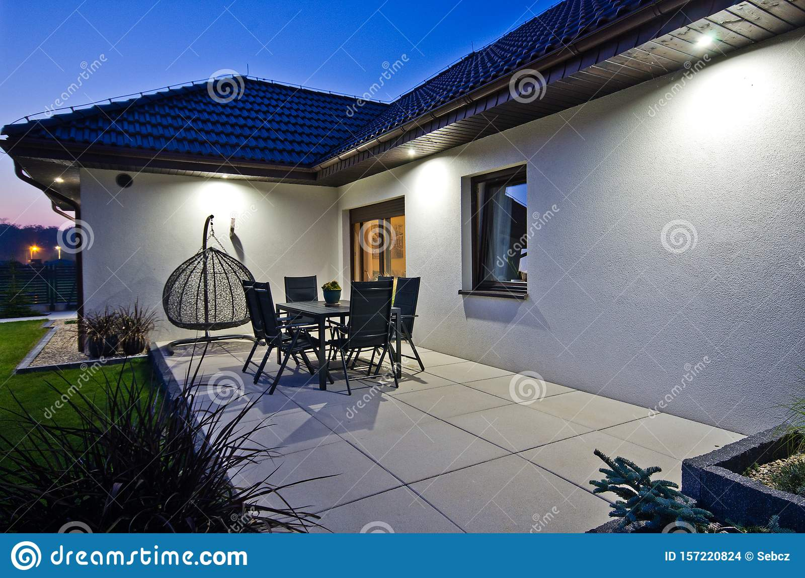Modern Private House Terrace Design In Summer Stock Photo