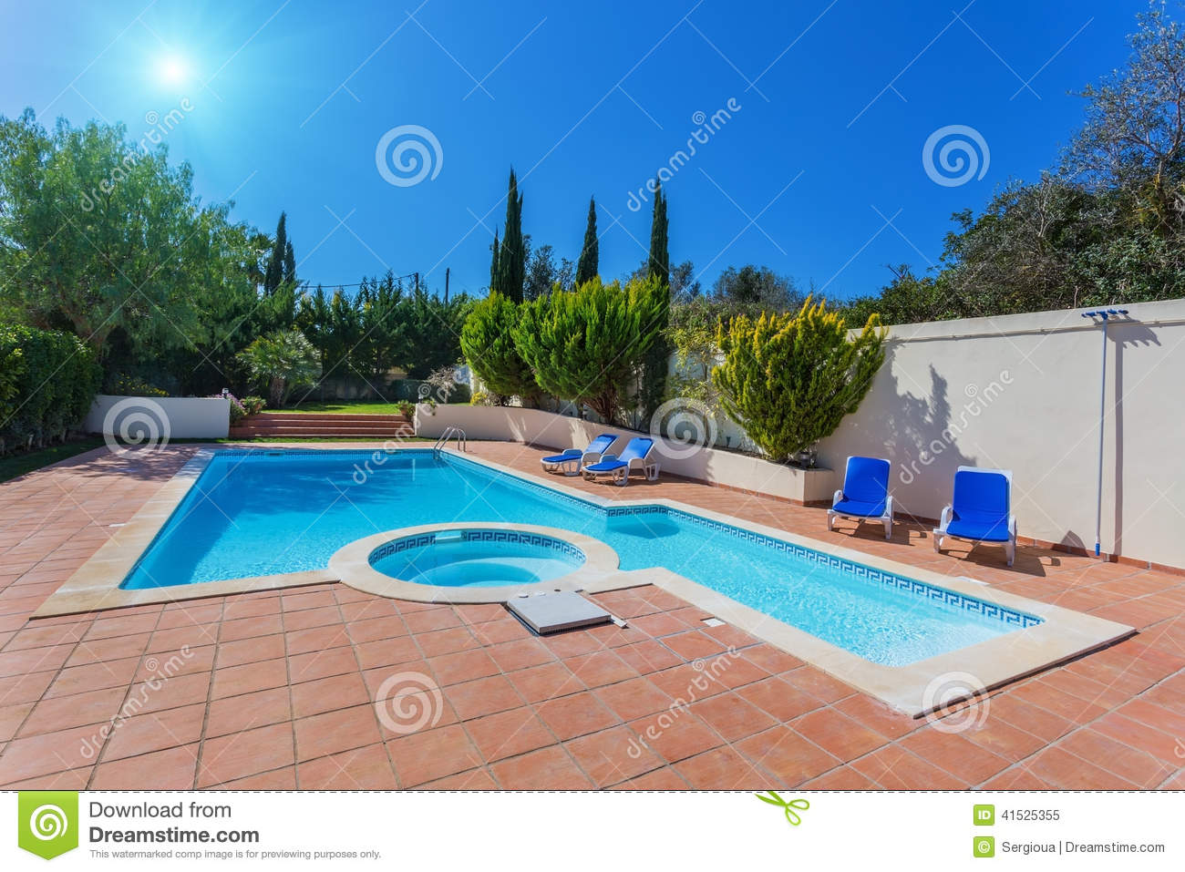 Modern Home Swimming Pool For Recreation Stock Photo