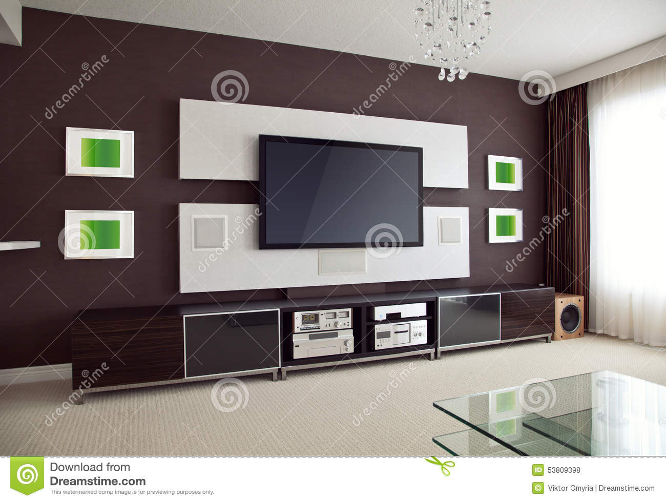 Modern home theater room interior with flat screen tv for Living room interior in flat