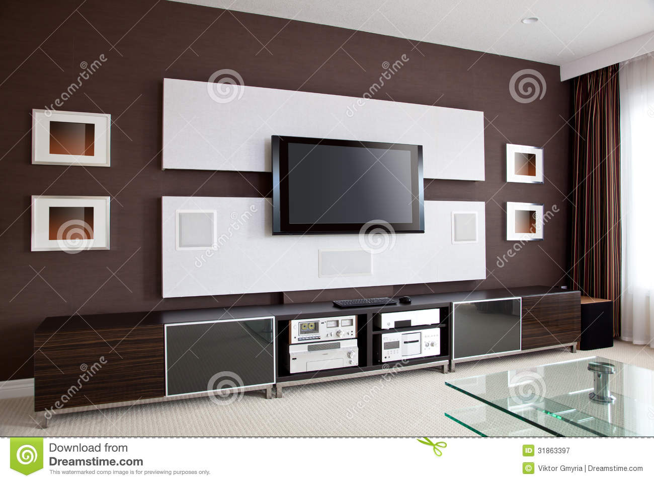 Modern Home Theater Room Interior With Flat Screen Tv Stock Image Image Of Furnished Furniture 31863397