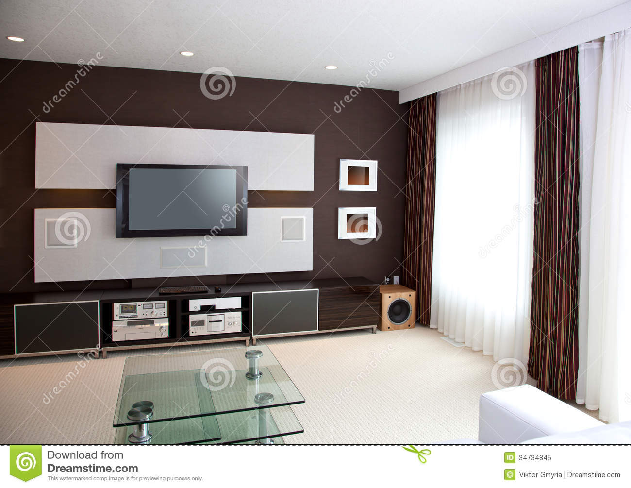 Modern home theater room interior with flat screen tv for Modern flat interior
