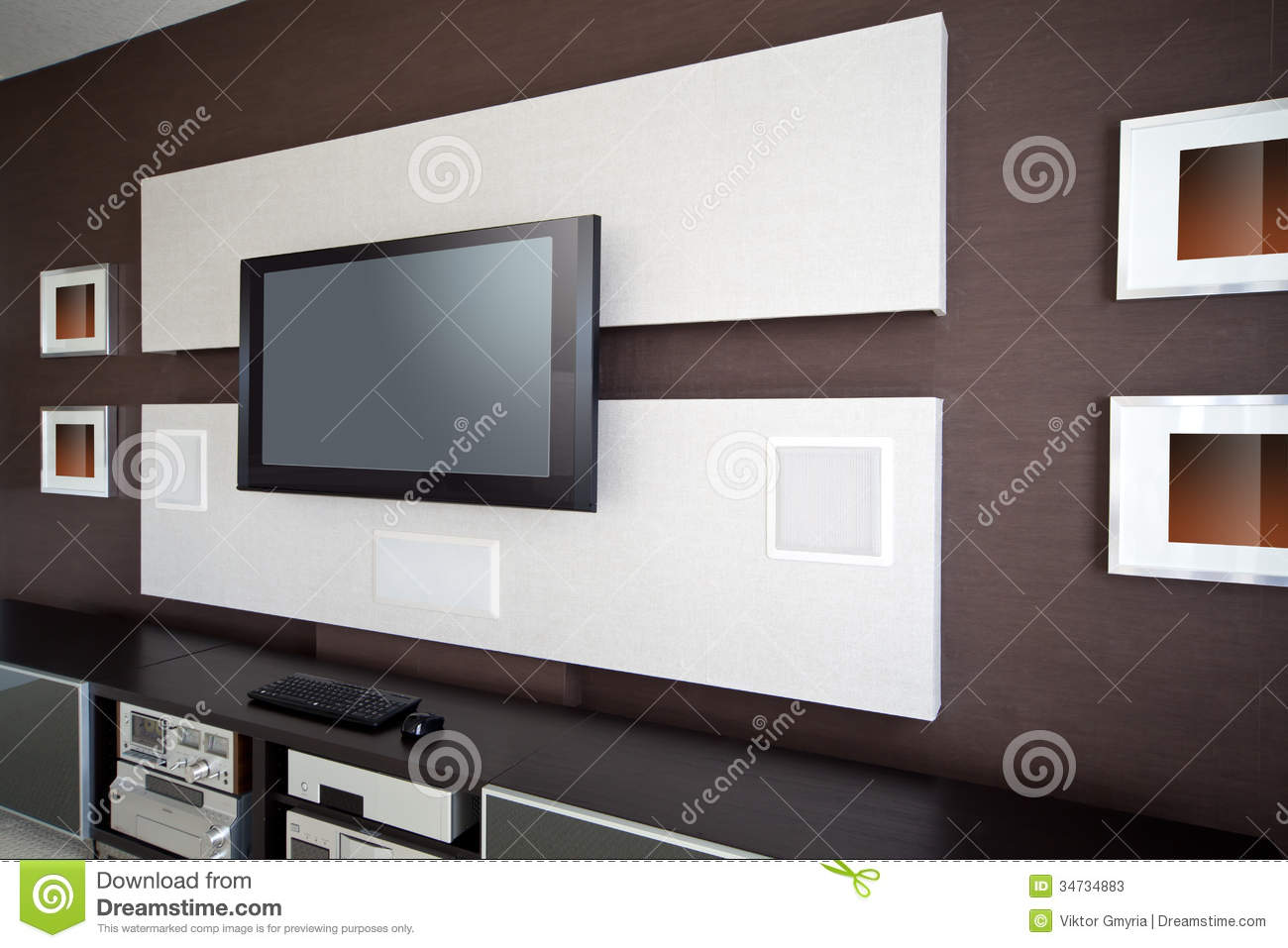 Home Tv Movie Theater Entertainment Room Interior Stock Photo  # Table Tv Avec Home Cinema