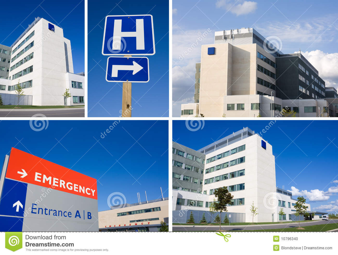 Modern hospital emergency sign and building