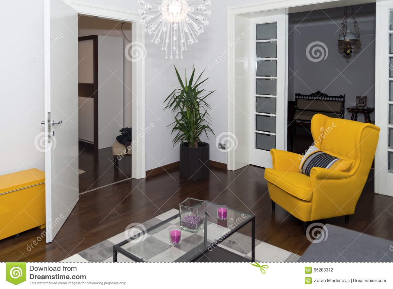 Drawing Room Corner Showpiece: Modern Hotel Apartment With 3d Living Room And Bedroom