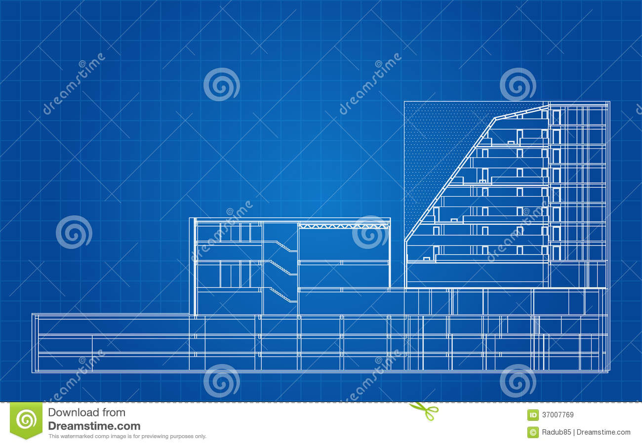 Modern hotel building architectural blueprint stock vector for Architecture blueprints free