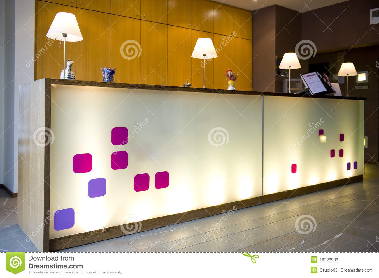 Modern Hotel Lobby. A Modern Hotel Front Desk And Lobby Royalty Free Stock  Images