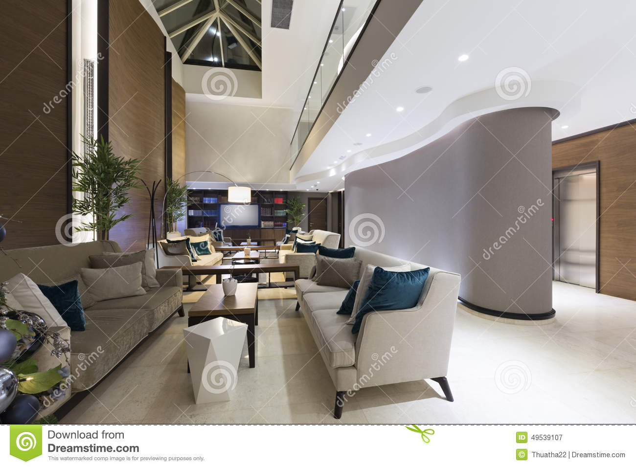 Modern Hotel Lobby Cafe Interior Stock Photo Image 49539107