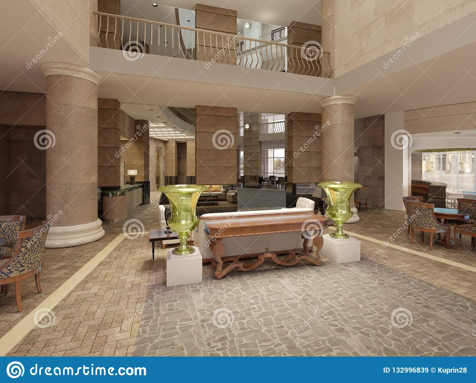 Modern Hotel Lobby With Multi,level Interior Space And