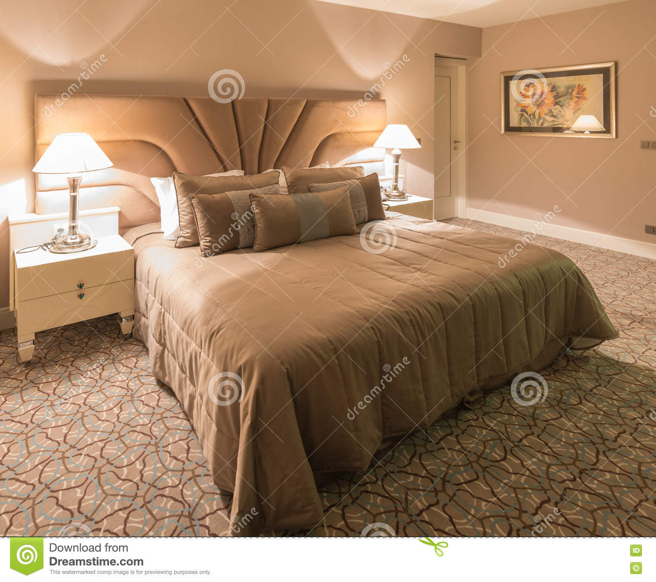 The Modern Hotel Room With Big Bed Stock Image