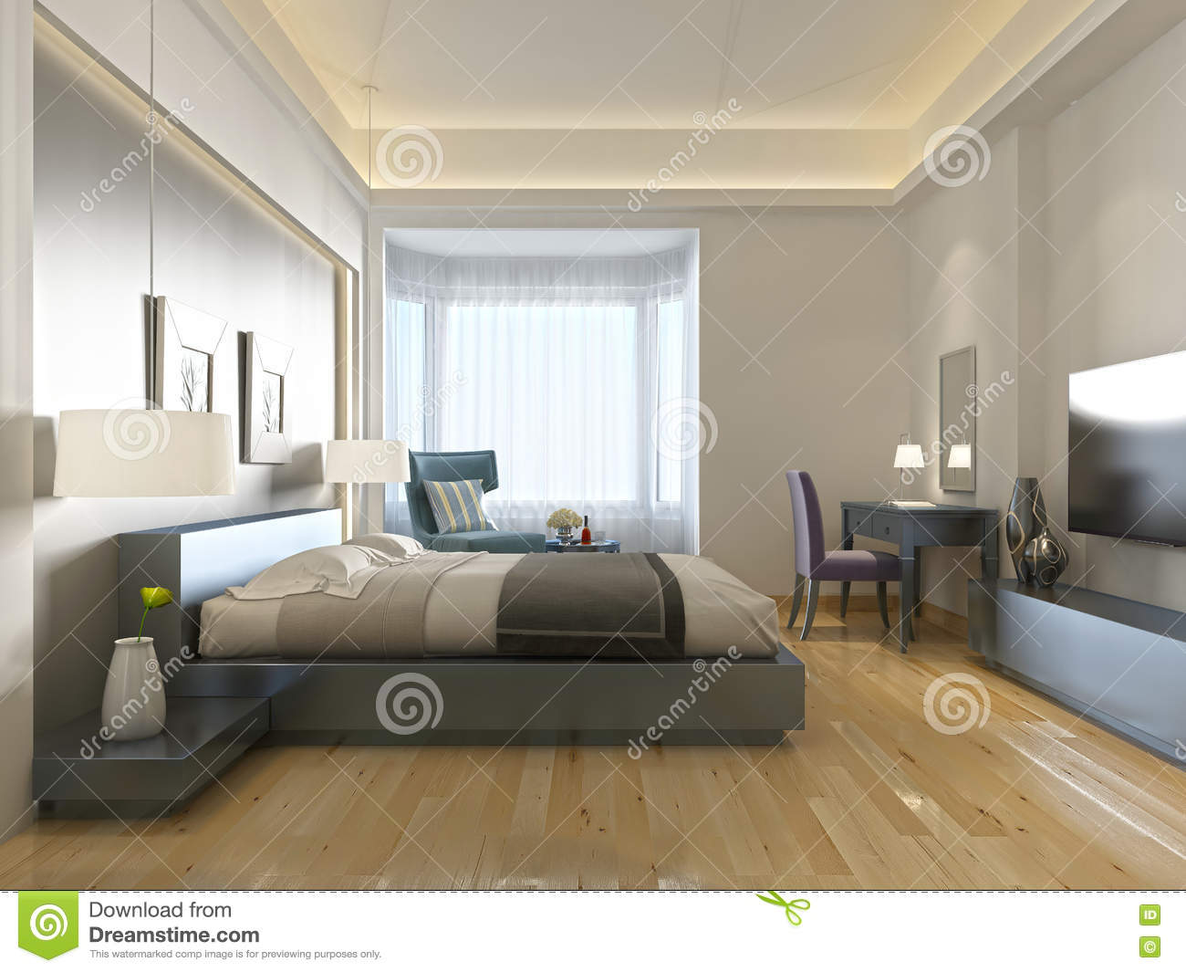 Modern hotel room contemporary style with elements of art deco