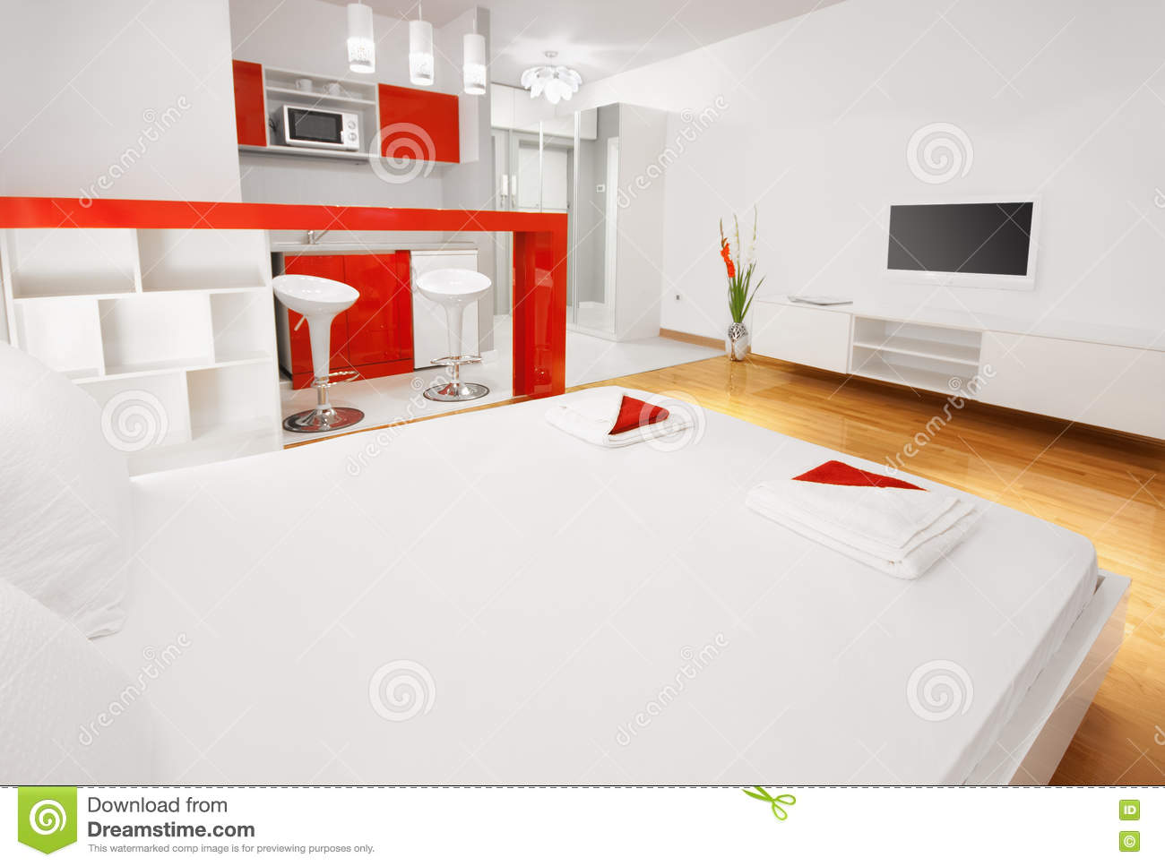 Modern Hotel Room Or Studio Flat Bedroom With Kitchen Stock Photo ...