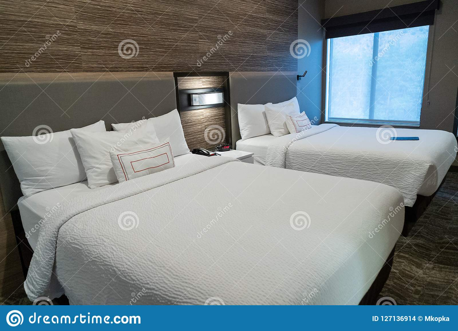 Modern Hotel Room With Two Queen Beds With Contemporary