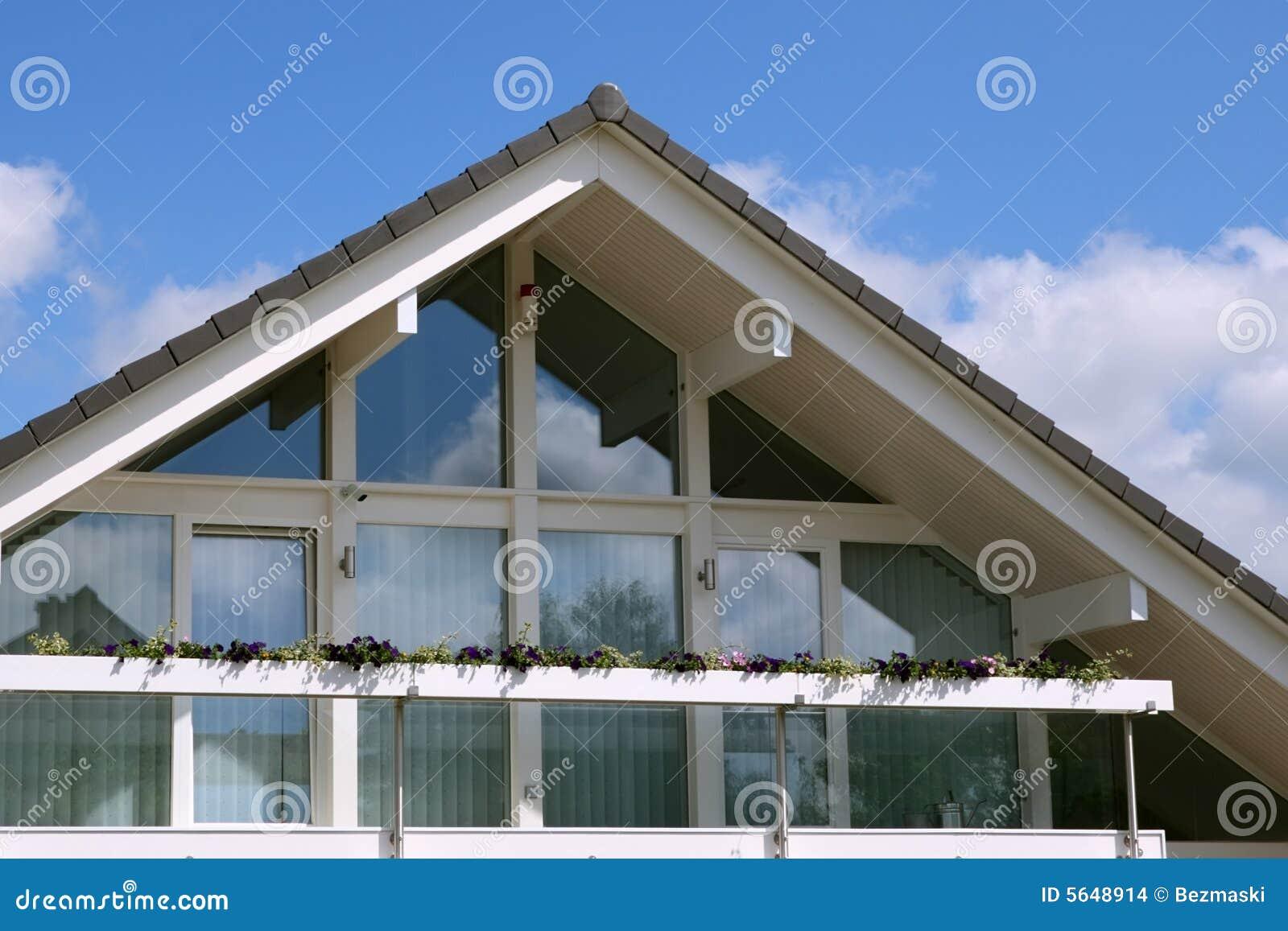 Modern house with balcony blue sky stock photo image for Blue modern house