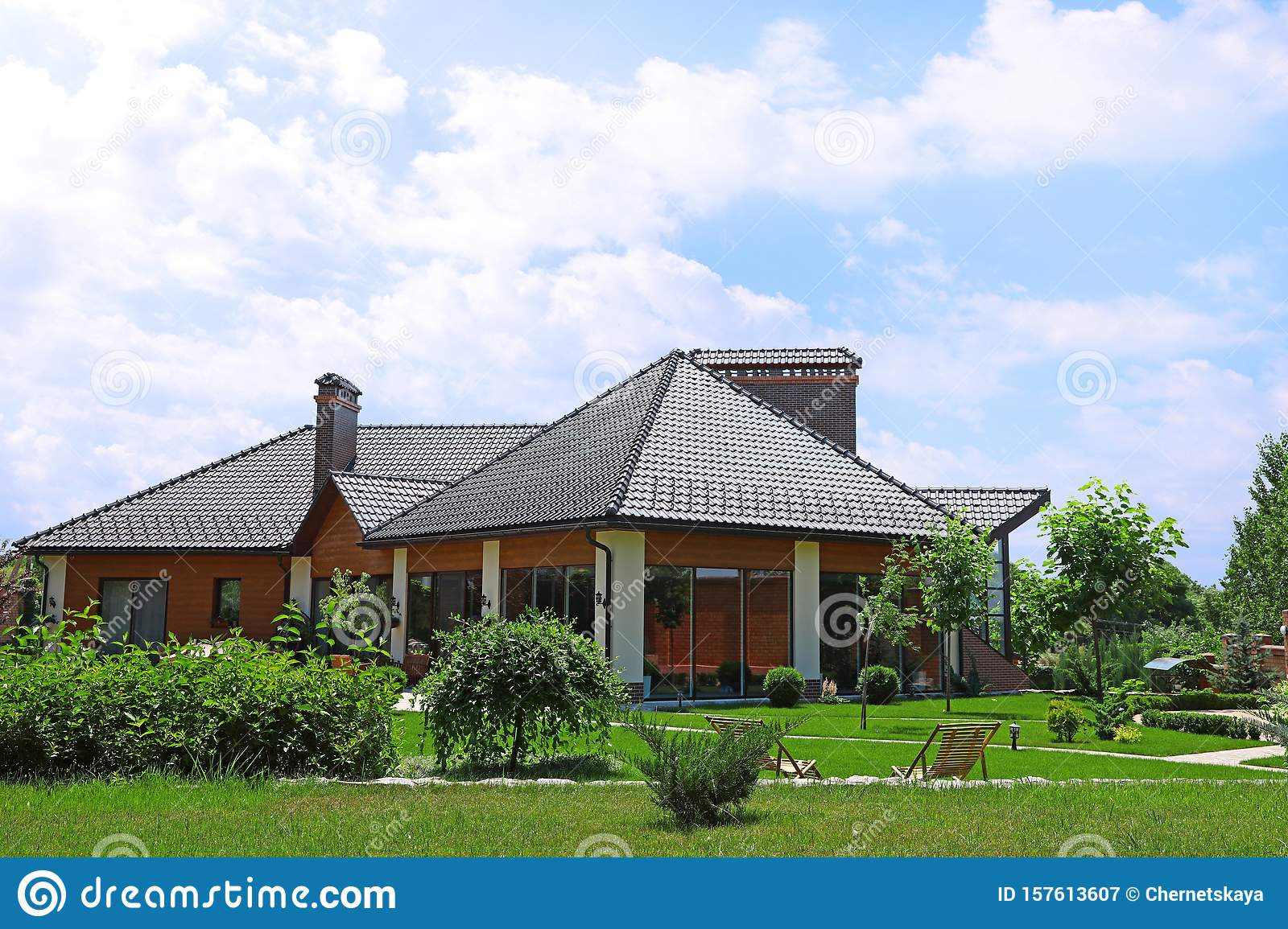 Modern House And Beautiful Garden Stock Image Image Of Private