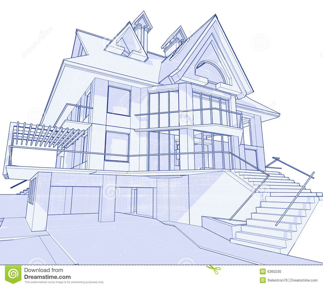 Modern house blueprint stock vector image of background 3d house design drawings