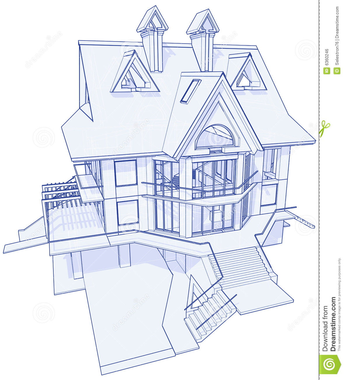 Modern house blueprint stock vector image of concept for Online architecture drawing