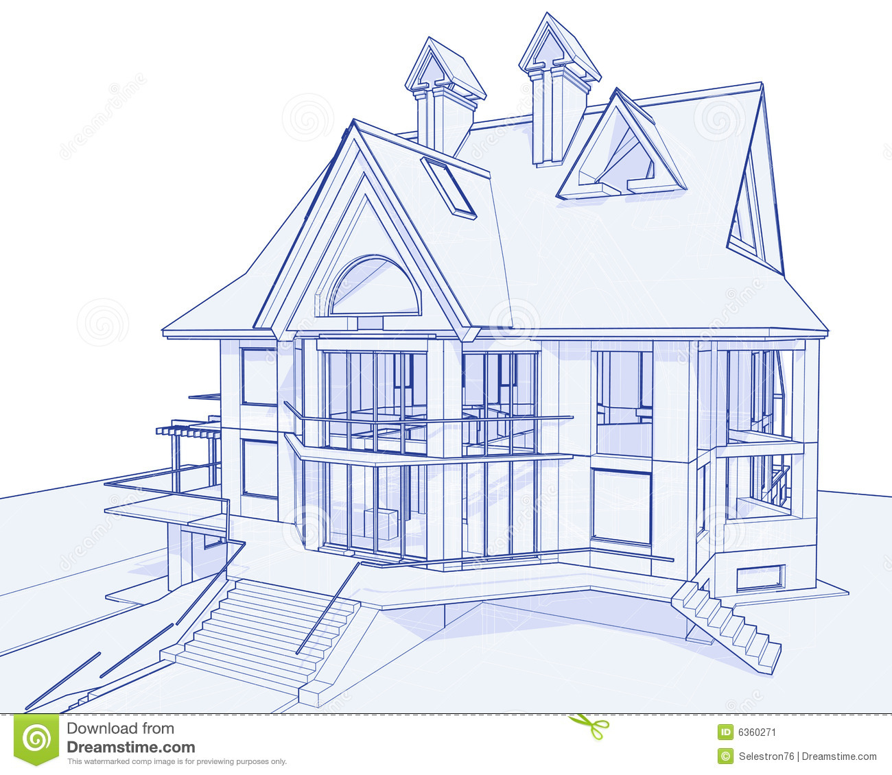 Modern house blueprint stock vector image of background House plan drawing 3d