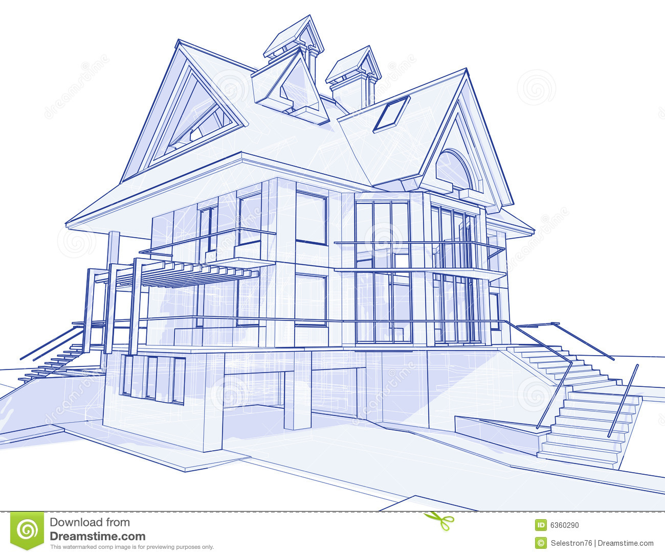 Modern House Blueprint Stock Vector Illustration Of