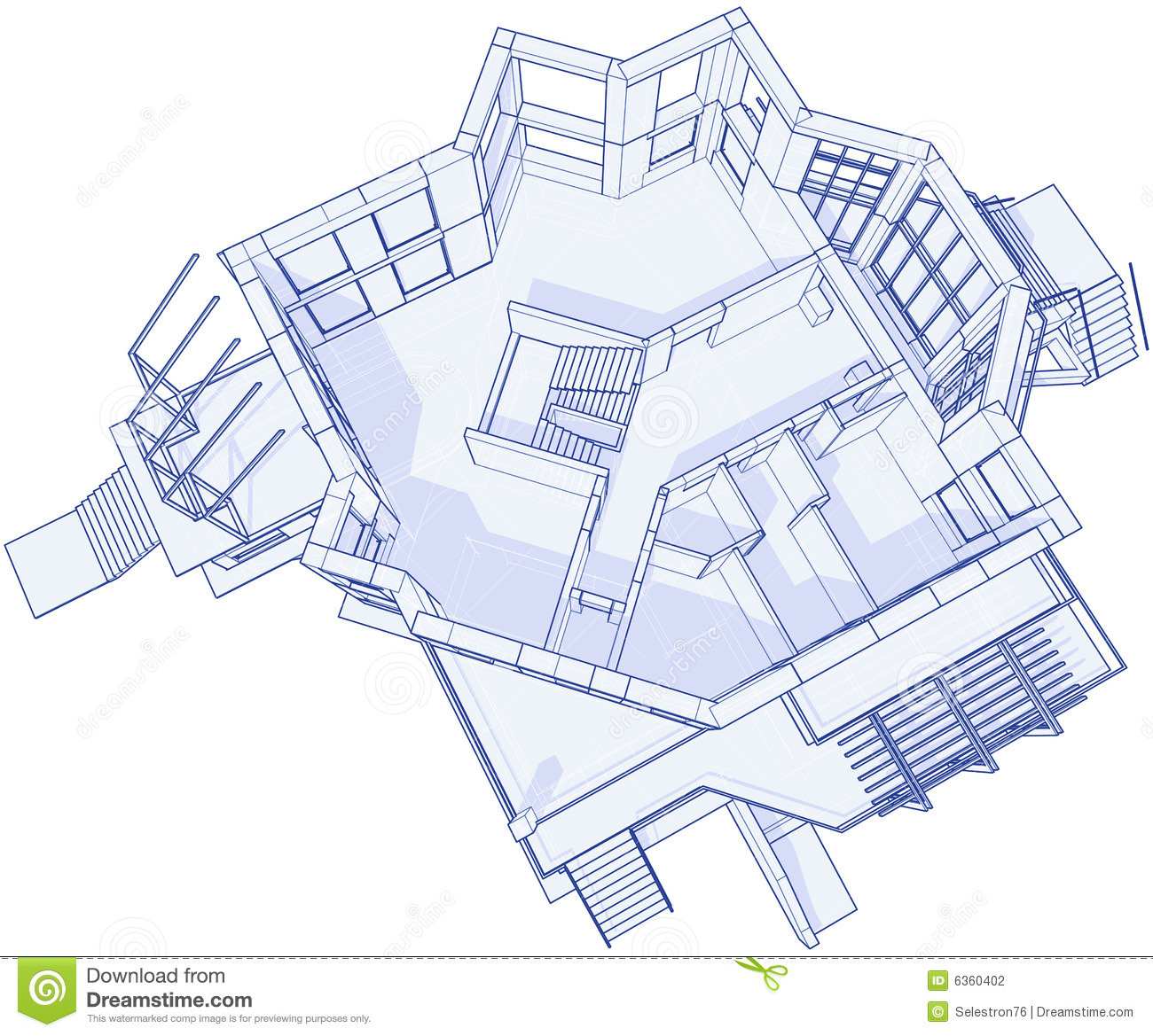 Modern house blueprint stock photography image 6360402 for Modern mansion blueprints