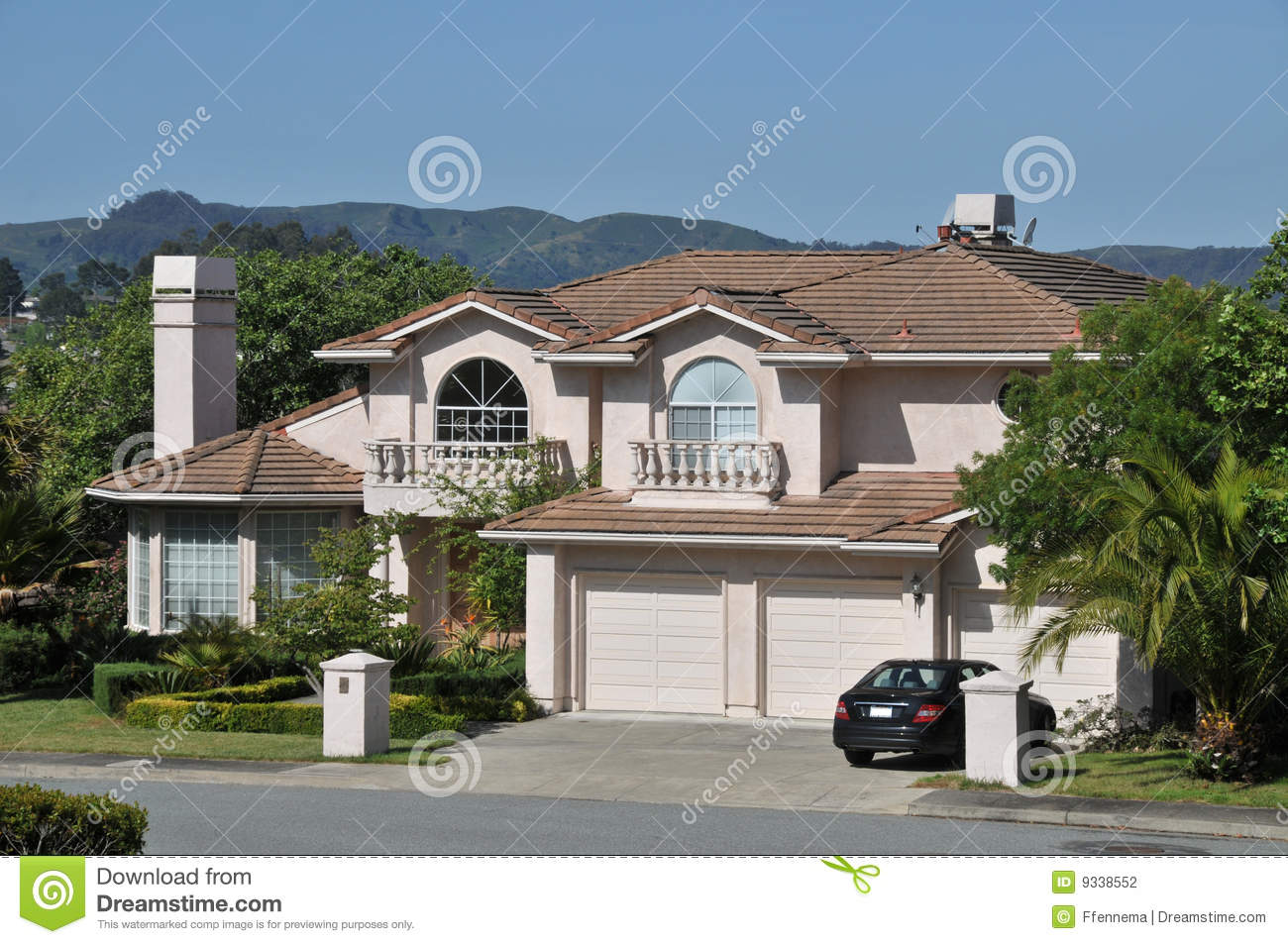 Modern House With Car In Driveway Stock Photography