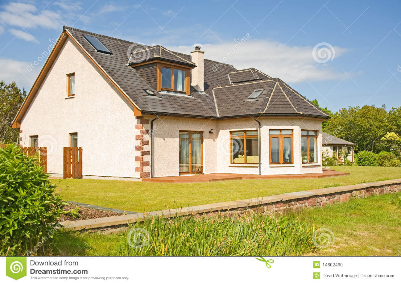 House With Chimney : Modern house with chimney and garden stock photo image