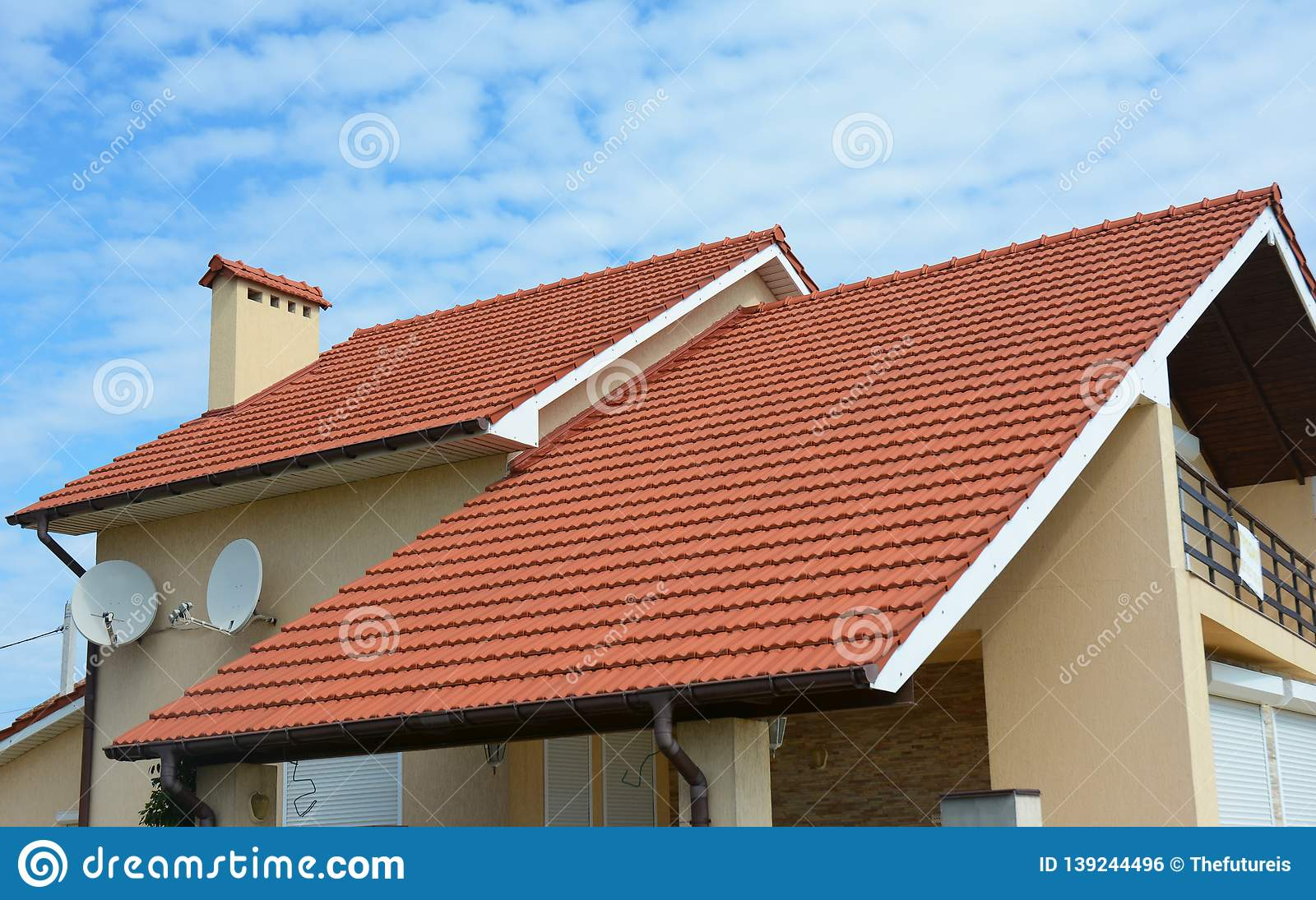 Modern House With Chimney, Red Clay Tiled Roof And Gable And