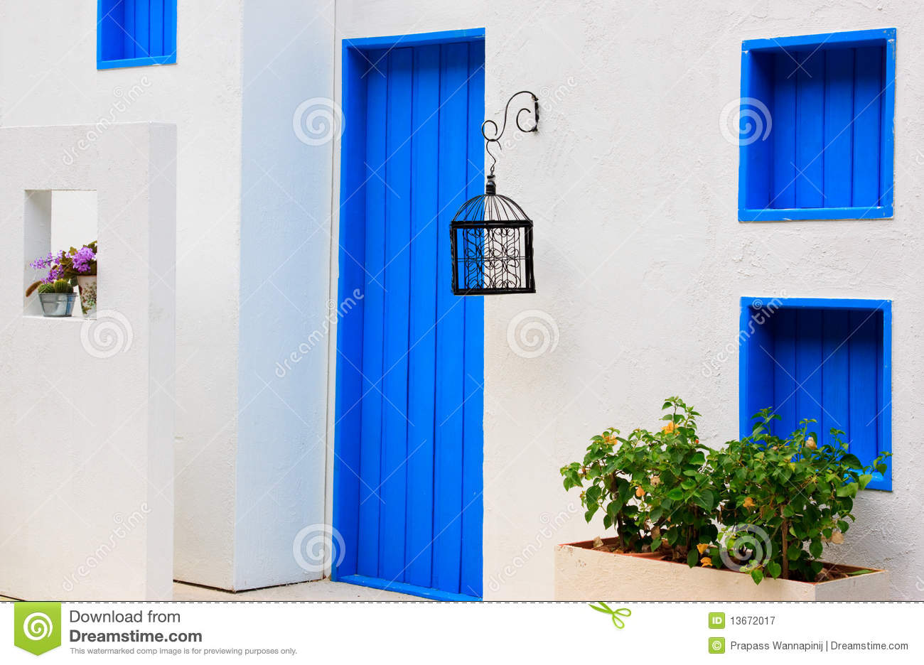 Modern House Colorful Blue Door Window