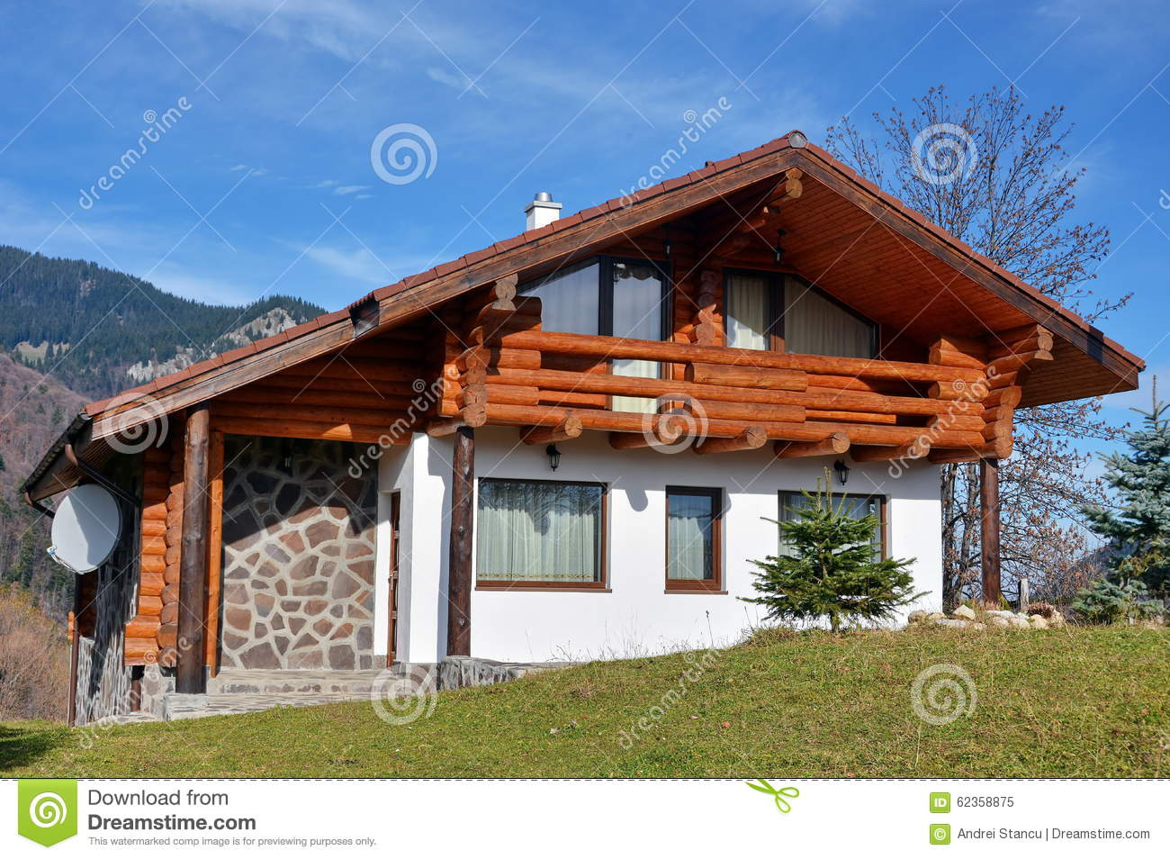 Modern house in countryside stock photo image 62358875 for Blue modern house