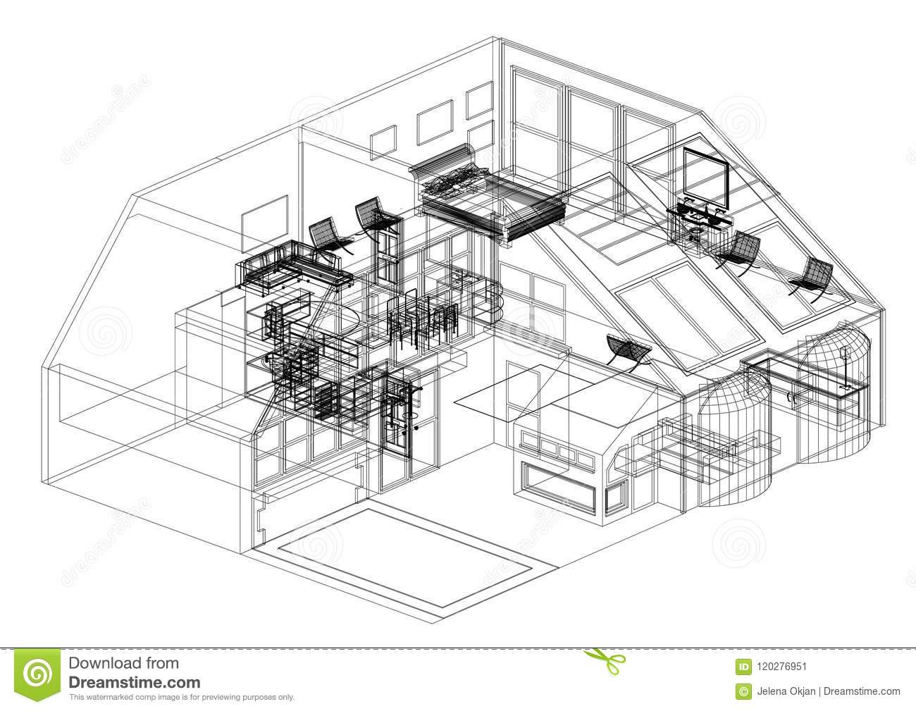 Modern house design architect blueprint isolated