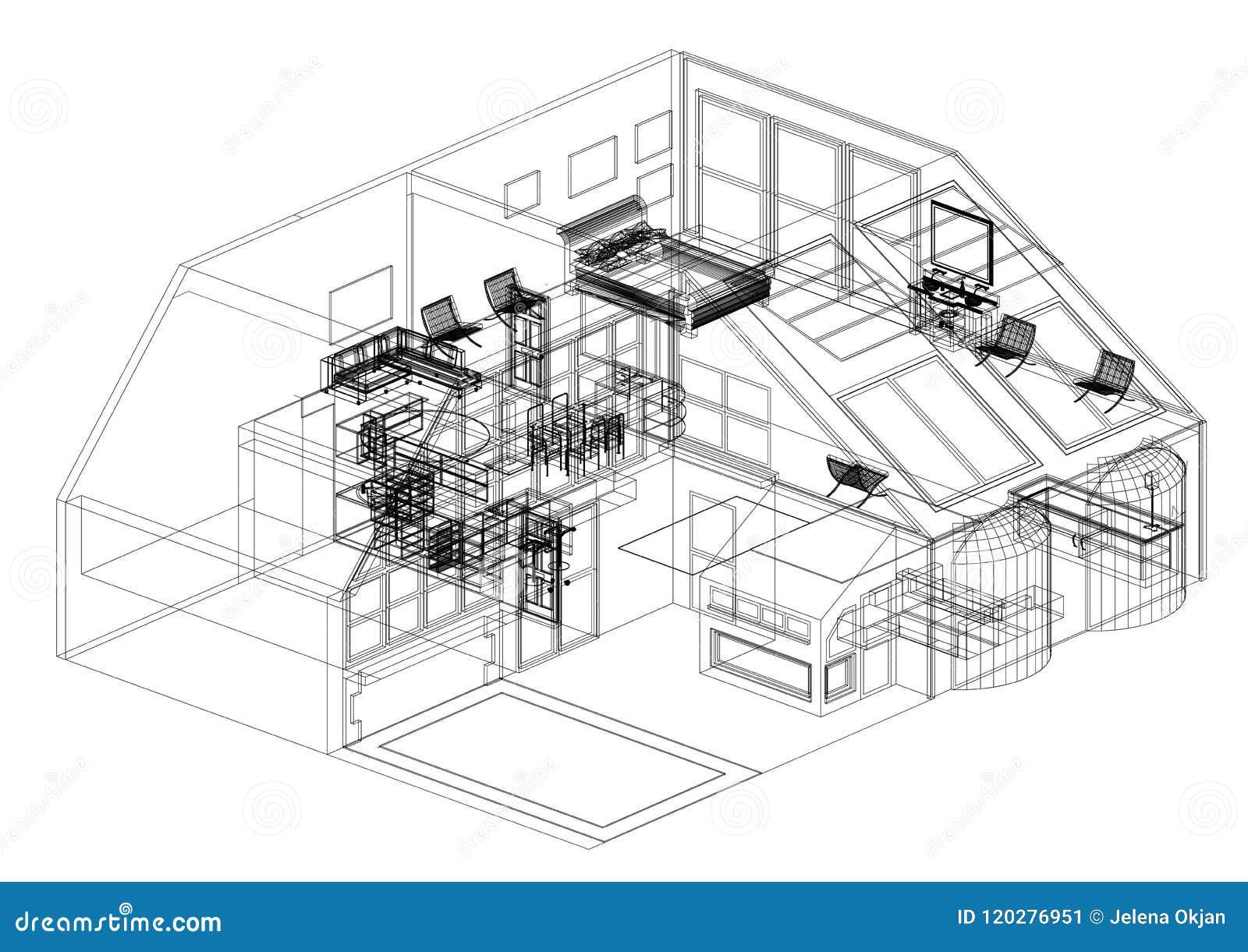 Modern House Design Architect Blueprint Isolated Stock