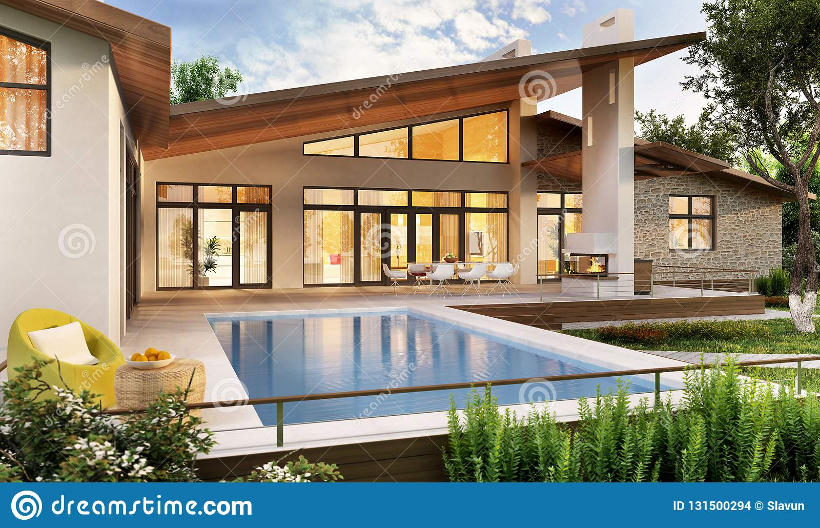 Exterior And Interior Design Of A Modern House With A Pool ...