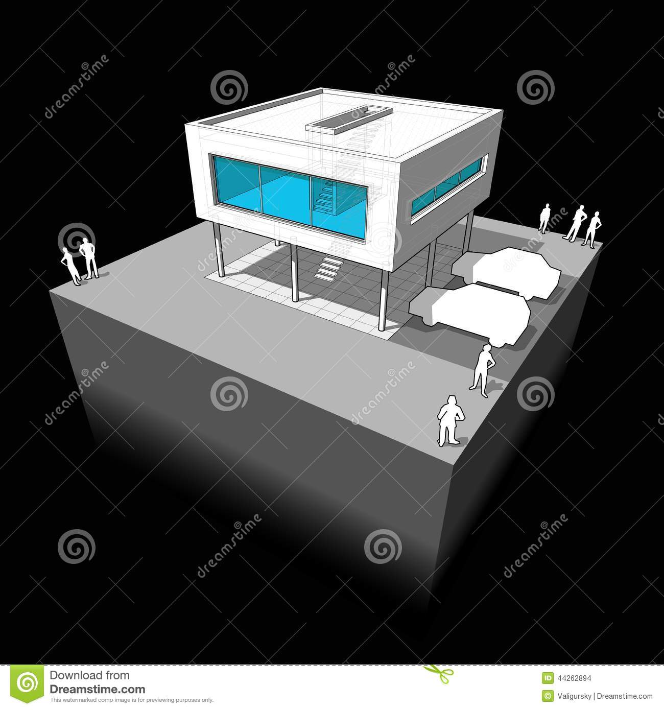 Modern house diagram stock vector image 44262894 for Modern house schematic