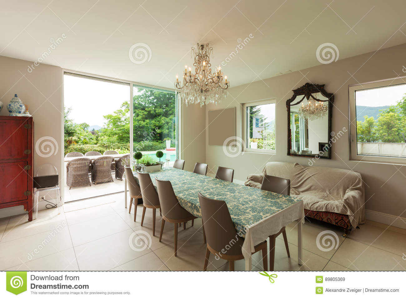 Modern House Dining Room Stock Image Image Of Apartment 89805369