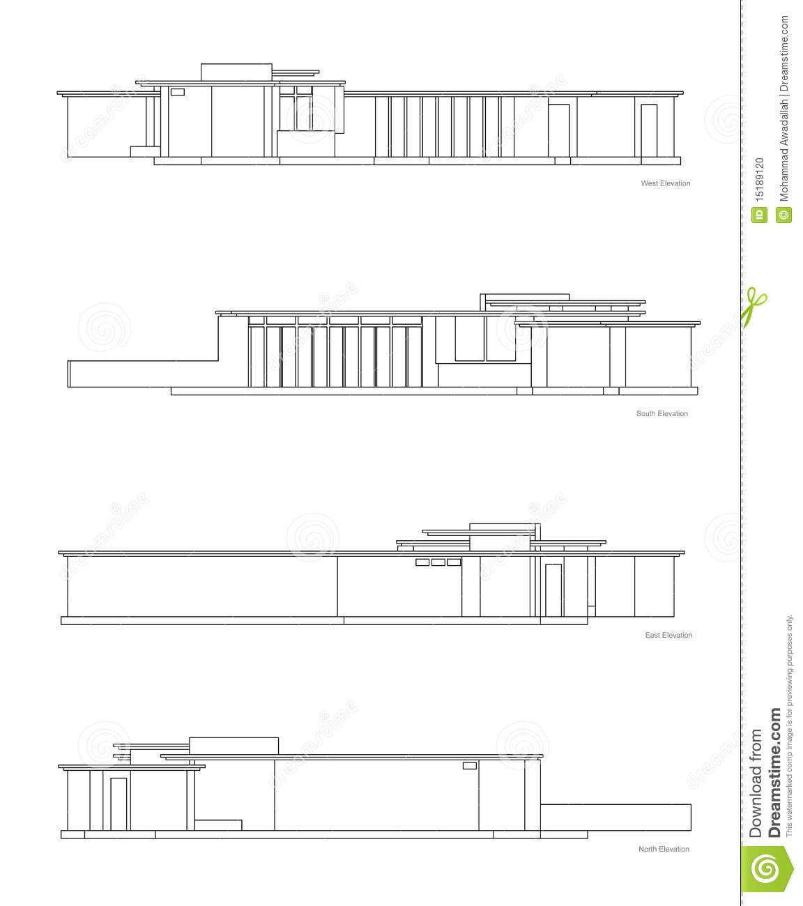 Modern House Elevations Set Stock Photo Image 15189120