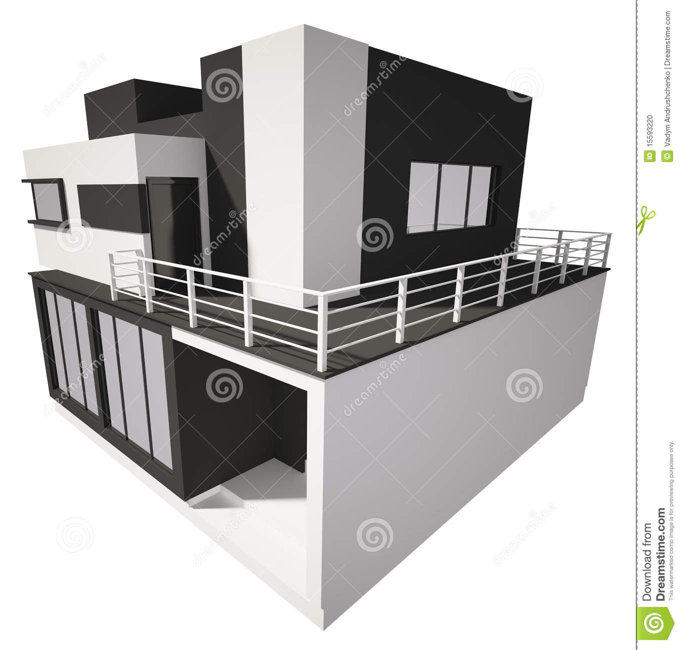 Modern house exterior isolated over white 3d stock photo image